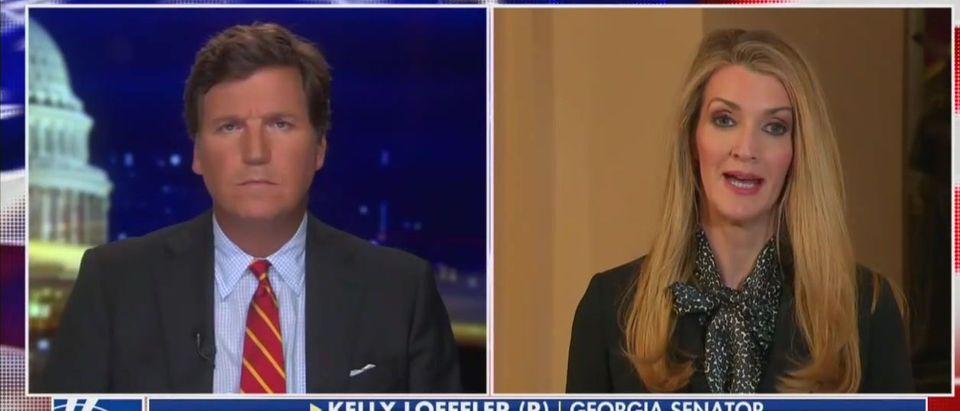 Tucker Carlson interviews Kelly Loeffler (Fox News screengrab)