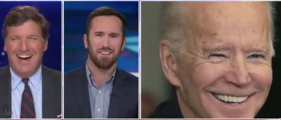 Tucker Carlson and Peter Hasson discuss Joe Biden. Screen Shot/Fox News