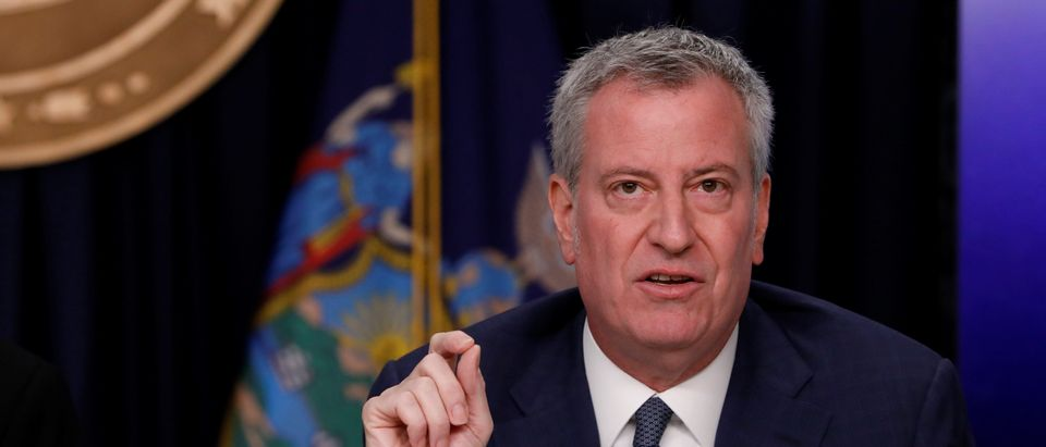 New York City Mayor Bill de Blasio delivers remarks at a news conference regarding the first confirmed case of coronavirus in New York State in Manhattan borough of New York City, New York