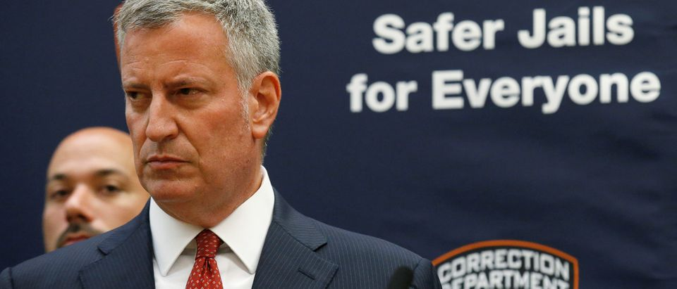 New York Mayor Bill de Blasio speaks during a news conference at Rikers Island jail in New York