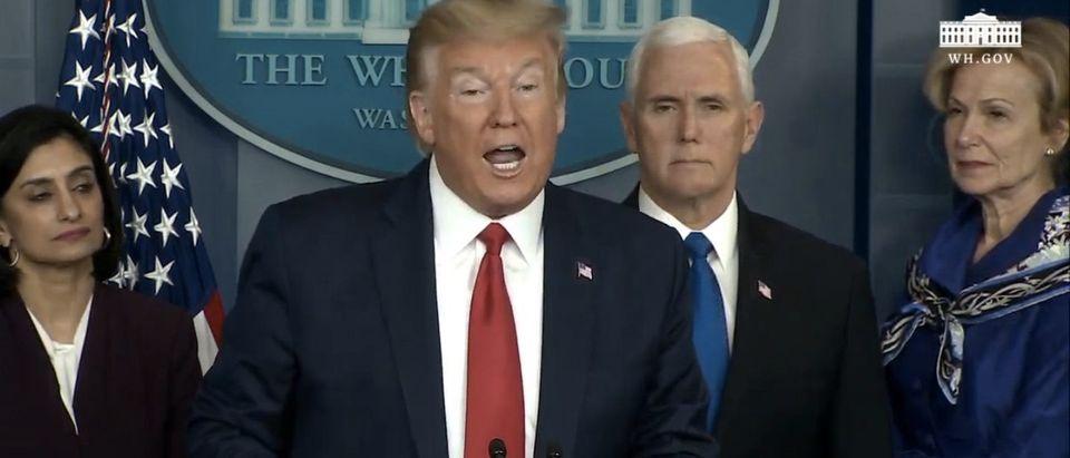 President Trump invokes Defense Protection Act. (Screenshot/YouTube/White House)