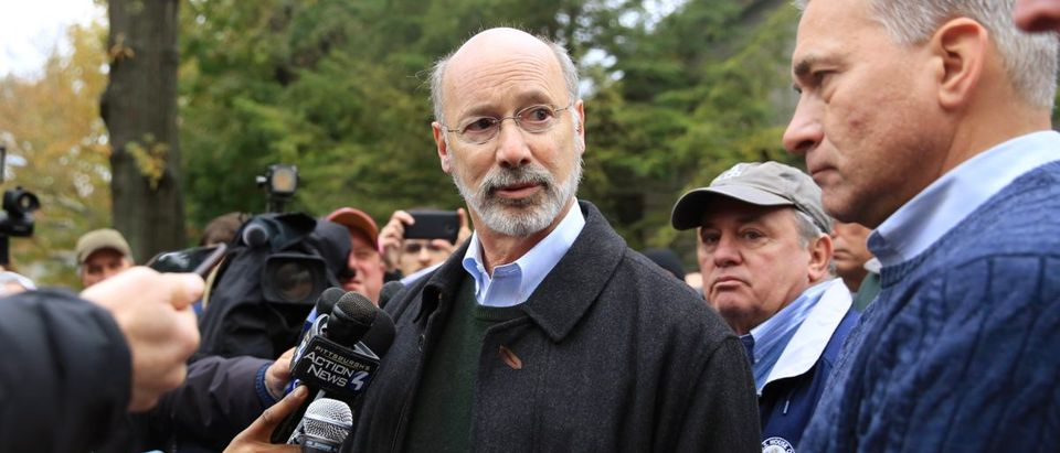 Pennsylvania Governor Tom Wolf and Wendell Hissrich Pittsburgh Public Safety Director speak to media after a gunman opened fire at the Tree of Life synagogue in Pittsburgh Pennsylvania