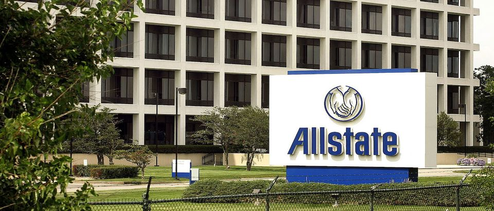 Signage is seen in front of a building on the Allstate corporate campus August 30, 2005 in Northbrook, Illinois. Damage from Hurricane Katrina may destroy previous records regarding insurance claims, possibly reaching $26 billion, impacting insurers such as Allstate and State Farm. (Photo by Tim Boyle/Getty Images)