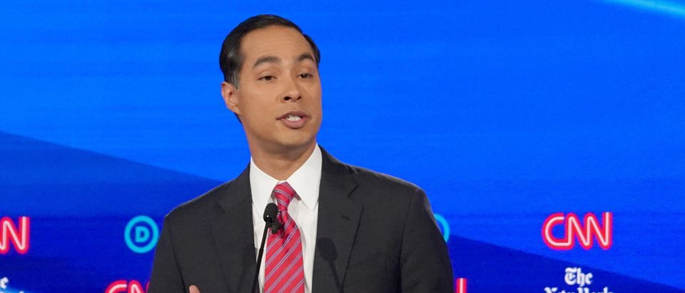 Democratic presidential candidate and former Housing Secretary Julian Castro speaks during the fourth U.S. Democratic presidential candidates 2020 election debate in Westerville, Ohio