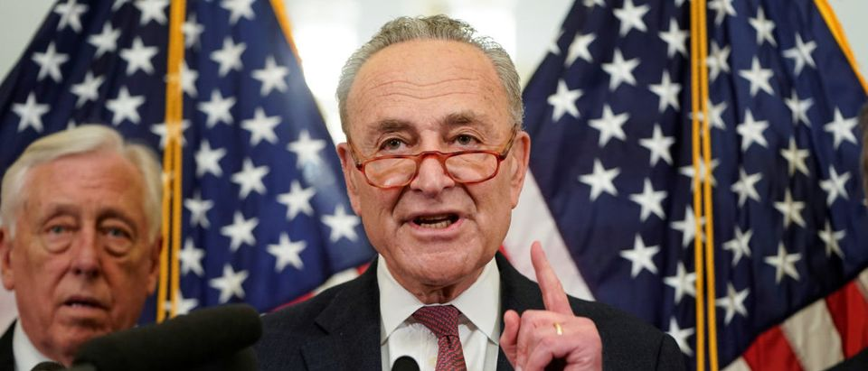 Senate Minority Leader Schumer speaks during an event calling for healthcare protection in Washington