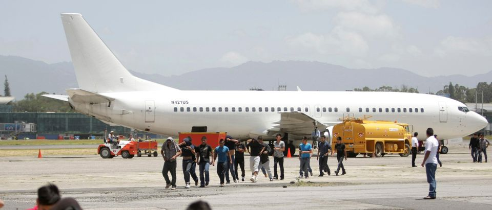 Illegal migrants from Guatemala who are deported from the U.S. arrive at La Aurora airport in Guatemala City