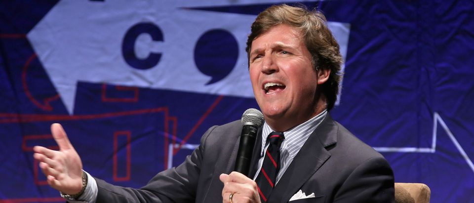 Tucker Carlson speaks onstage during Politicon 2018 at Los Angeles Convention Center on October 21, 2018 in Los Angeles, California. (Phillip Faraone/Getty Images for Politicon )