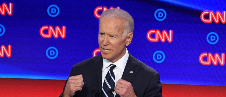 Democratic presidential hopeful Former Vice President Joe Biden speaks during the second round of the second Democratic primary debate of the 2020 presidential campaign season hosted by CNN at the Fox Theatre in Detroit, Michigan on July 31, 2019. (JIM WATSON/AFP via Getty Images)