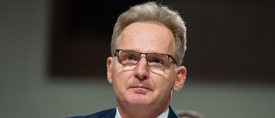 Acting Secretary of the Navy Thomas Modly testifies in response to Government Accountability Office findings about substandard military housing during a Senate Armed Services Committee hearing on Capitol Hill in Washington, DC, December 3, 2019. (SAUL LOEB/AFP via Getty Images)