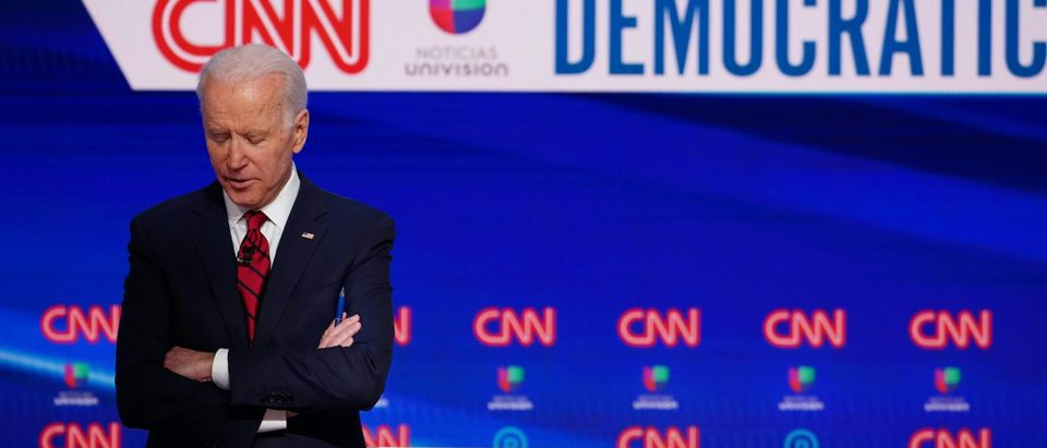 Democratic presidential hopeful former US vice president Joe Biden is seen on stage as he and Senator Bernie Sanders take part in the 11th Democratic Party 2020 presidential debate in a CNN Washington Bureau studio in Washington, DC on March 15, 2020. (MANDEL NGAN/AFP via Getty Images)
