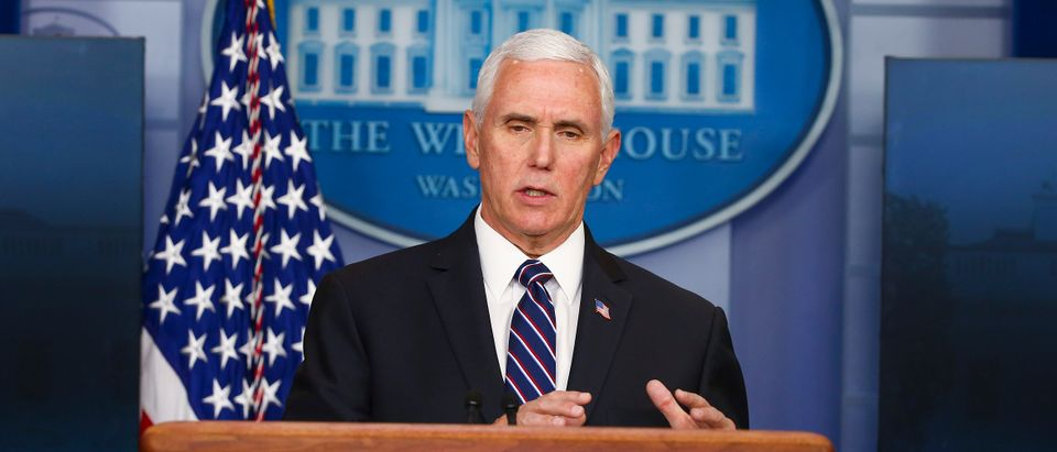 U.S. Vice President Mike Pence speaks at the daily coronavirus briefing at the White House on April 19, 2020 in Washington, DC. (Tasos Katopodis/Getty Images)