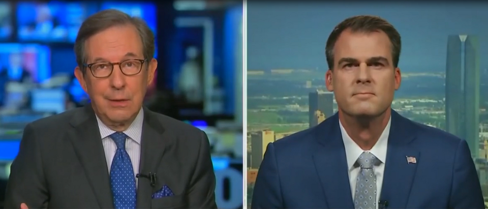 Kevin Stitt spars with Chris Wallace over reopening Oklahoma (Fox News screengrab)