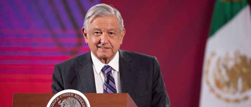 Mexico's President Andres Manuel Lopez Obrador speaks during a news conference at National Palace in Mexico City