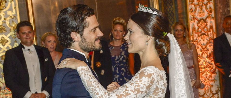 Princess Sofia and Prince Carl Philip are pictured during their first dance at their wedding in the Royal Palace in Stockholm, Sweden, June 13, 2015. REUTERS/Jonas Ekstromer/TT News Agency