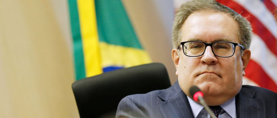 FILE PHOTO: U.S. Environmental Protection Agency Administrator Andrew Wheeler looks on during a ceremony to sign the memorandum of understanding on cooperation in urban sustainability with Brazil's Environment Minister Ricardo Salles (not pictured) in Bras