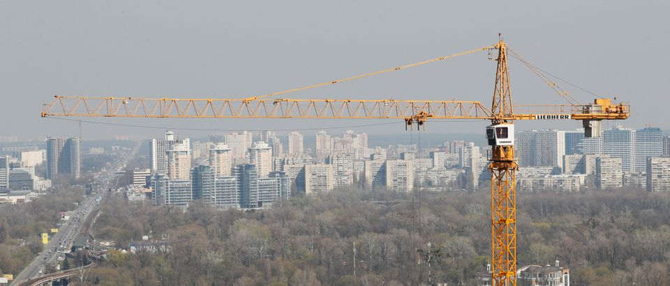A crane is seen at a construction site