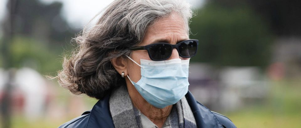 Dr. Aenor Sawyer, a physician at UCSF and resident of Bolinas, wears a face mask as she takes part in the testing of all village residents for the novel coronavirus and its antibodies to combat the coronavirus disease (COVID-19) crisis in Bolinas