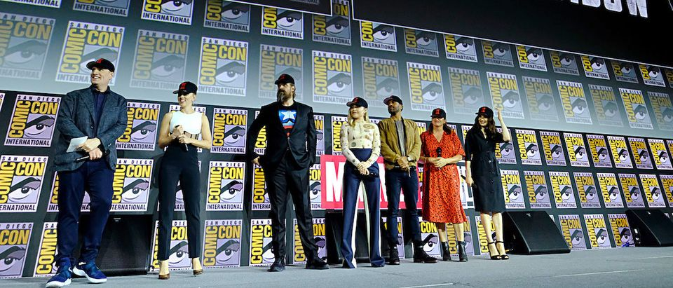 President of Marvel Studios Kevin Feige, Scarlett Johansson, David Harbour, Florence Pugh, O-T Fagbenle, Director Cate Shortland and Rachel Weisz of Marvel Studios' 'Black Widow' at the San Diego Comic-Con International 2019 Marvel Studios Panel in Hall H on July 20, 2019 in San Diego, California. (Photo by Alberto E. Rodriguez/Getty Images for Disney)