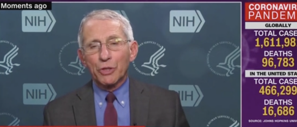 Dr. Fauci did not fully back Trump's new reported goal of reopening the country on May 1. (Screenshot CNN, New Day)