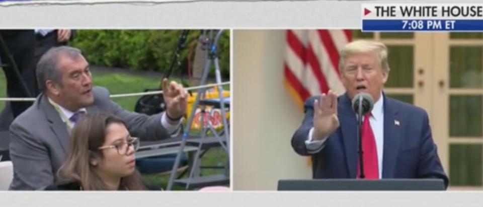 Playboy reporter Brian Karem questions President Donald Trump. Screenshot/Fox News