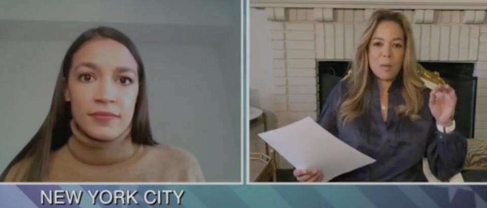"Alexandria Ocasio-Cortez speaks with Sunny Hostin on ""The View."" Screenshot/ABC"