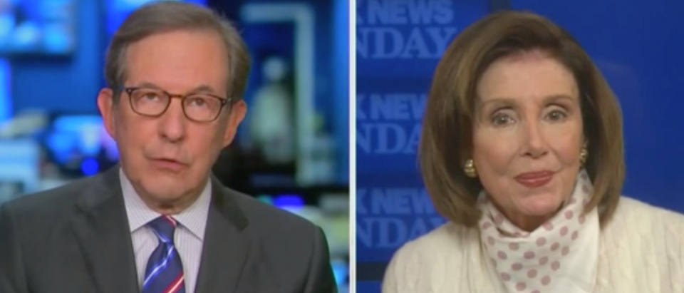 Nancy Pelosi said she didn't downplay the virus in February by encouraging tourism in Chinatown. (Screenshot Fox News Sunday with Chris Wallace)