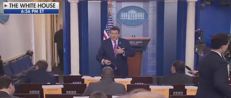 Bret Baier reported from the White House press briefing room Tuesday. (Screenshot Fox News)