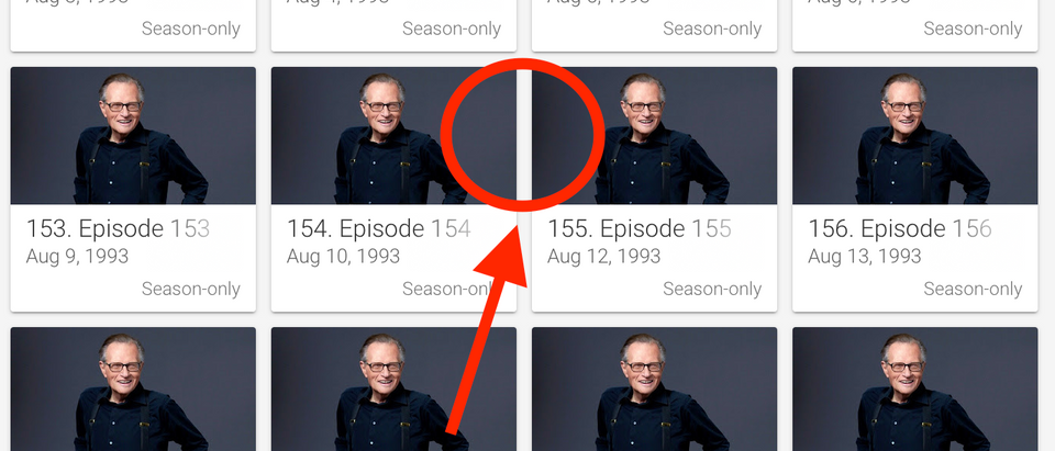 """The episode showing Biden accuser Tara Reade's mother calling into """"Larry King Live"""" appears to be missing from the Google Play catalog. (Screenshot Google Play, https://play.google.com/store/tv/show?id=7A759298BC2363D8SH&cdid=tvseason-40218FBD1AFA6A82SE&hl=en_US)"""