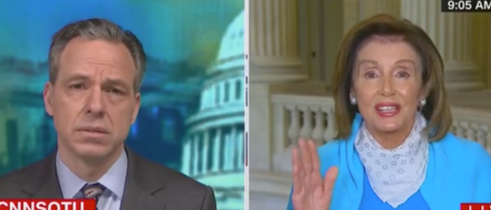 Jake Tapper talks to House Speaker Nancy Pelosi. Screenshot/CNN