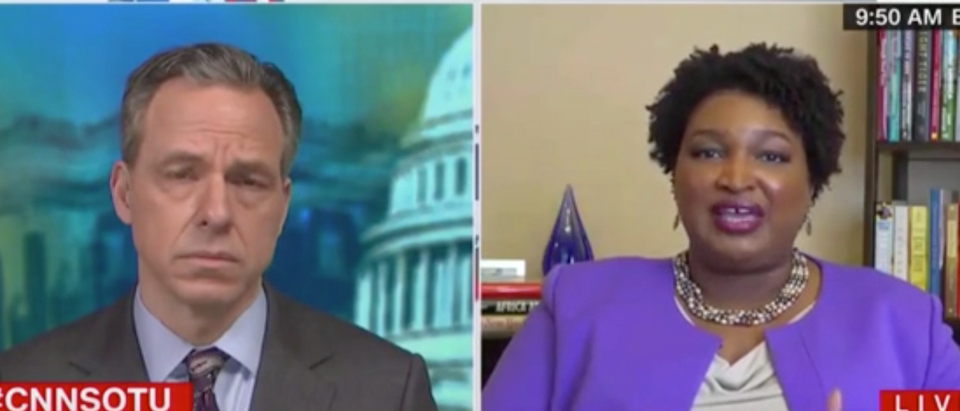 """Jake Tapper speaks with Stacey Abrams on """"State of the Union."""" Screenshot/CNN"""