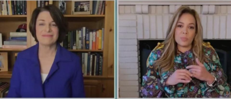 "Amy Klobuchar joins Sunny Hostin on ""The View."" Screenshot/ABC"