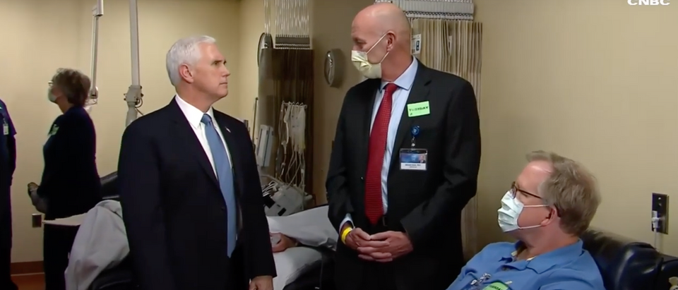Mike Pence was praised by a Democratic governor Tuesday during a trip where he was largely only criticized for not wearing a mask. (Screenshot YouTube CNBC Television, https://www.youtube.com/watch?v=82LPVgY_A8s)