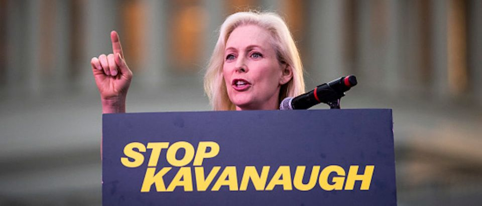 Sen. Kirsten Gillibrand (D-NY) speaks to protestors rallying against Supreme Court nominee Judge Brett Kavanaugh on Capitol Hill, October 4, 2018 in Washington, DC