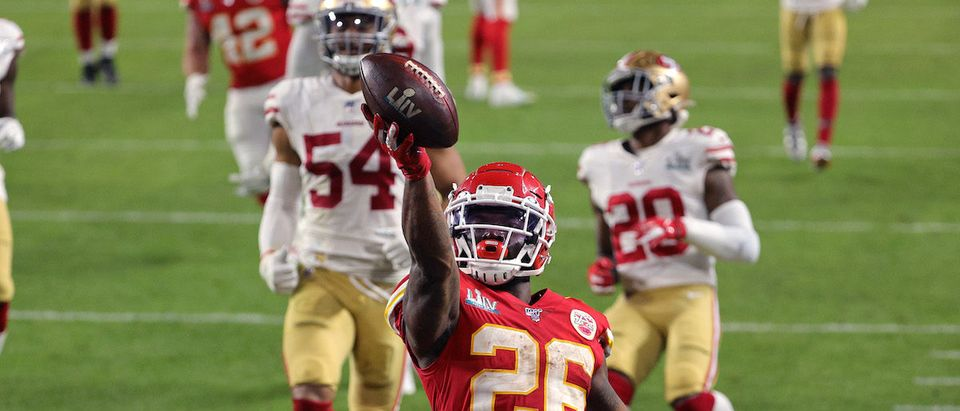 Damien Williams #26 of the Kansas City Chiefs runs for a touchdown against the San Francisco 49ers during the fourth quarter in Super Bowl LIV at Hard Rock Stadium on February 02, 2020 in Miami, Florida. (Photo by Sam Greenwood/Getty Images)