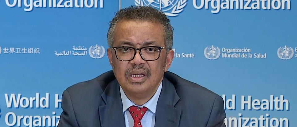 A TV grab taken from a video released by the World Health Organization (WHO) shows WHO Chief Tedros Adhanom Ghebreyesus attending a virtual news briefing on COVID-19 (novel coronavirus) from the WHO headquarters in Geneva on April 6, 2020. - The WHO said on April 6, 2020 that facemasks could be justified in areas where hand-washing and physical distancing were difficult, as it teamed up with Lady Gaga to launch a giant coronavirus awareness concert. (Photo by - / AFP) (Photo by -/AFP via Getty Images)