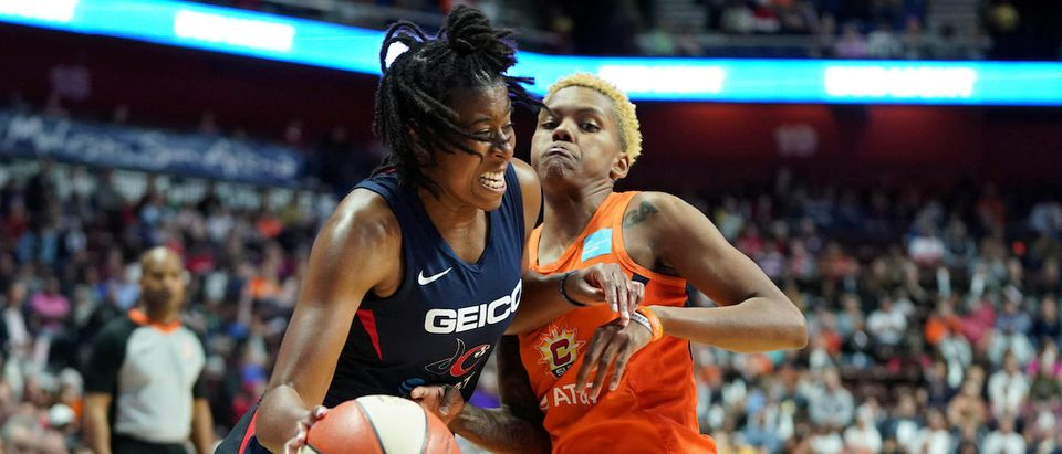 Oct 8, 2019; Uncasville, CT, USA; Washington Mystics guard Ariel Atkins (7) drives the ball against Connecticut Sun guard Courtney Williams (10) during the second half in game four of the 2019 WNBA Finals at Mohegan Sun Arena. The Sun defeated Washington 90-86. Mandatory Credit: David Butler II-USA TODAY Sports/File Photo