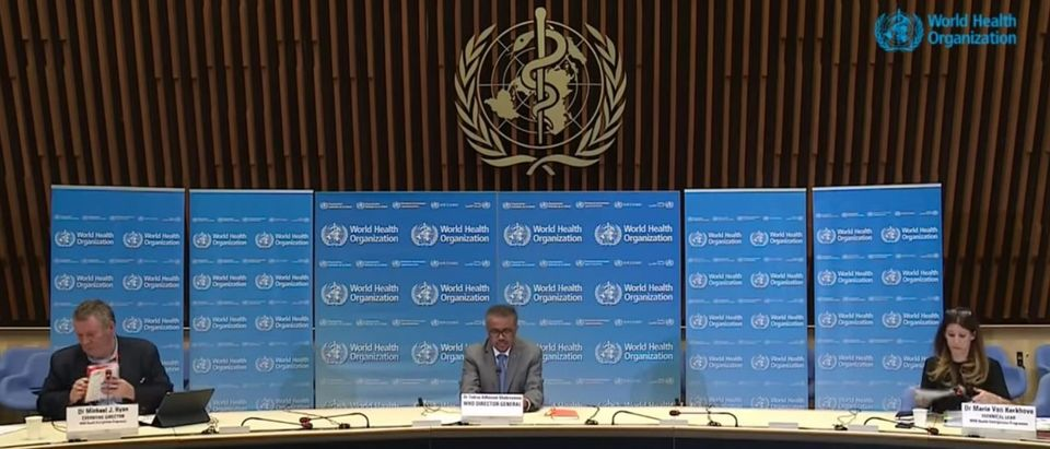 World Health Organization officials give press conference on April 1, 2020 at WHO headquarters in Geneva, Switzerland. Dr. Micheal Ryan, Executive Director of the Health Emergencies Programme (left); Dr Tedros WHO Director-General (center); Dr Maria Van Kerkhove (right). (YouTube screen capture/World Health Organization)