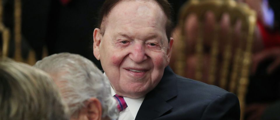 Casino magnate Adelson attends ceremony as his wife Miriam is awarded a 2018 Presidential Medal of Freedom at the White House in Washington