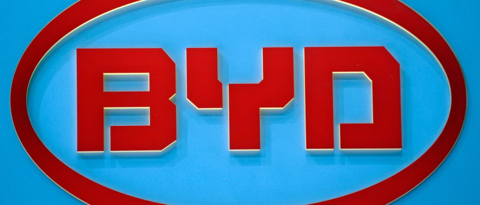 The logo of Chinese car manufacturer BYD