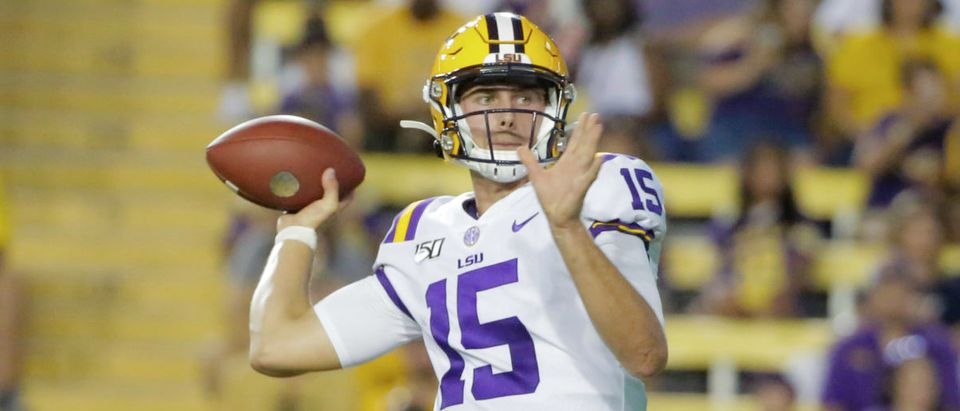 Aug 31, 2019; Baton Rouge, LA, USA; LSU Tigers quarterback Myles Brennan (15) looks to throw against the Georgia Southern Eagles during the second half at Tiger Stadium. Mandatory Credit: Derick E. Hingle-USA TODAY Sports - via Reuters