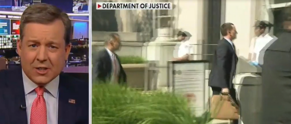 Ed Henry says Ric Grenell spotted carrying documents to William Barr (Fox News screengrab)