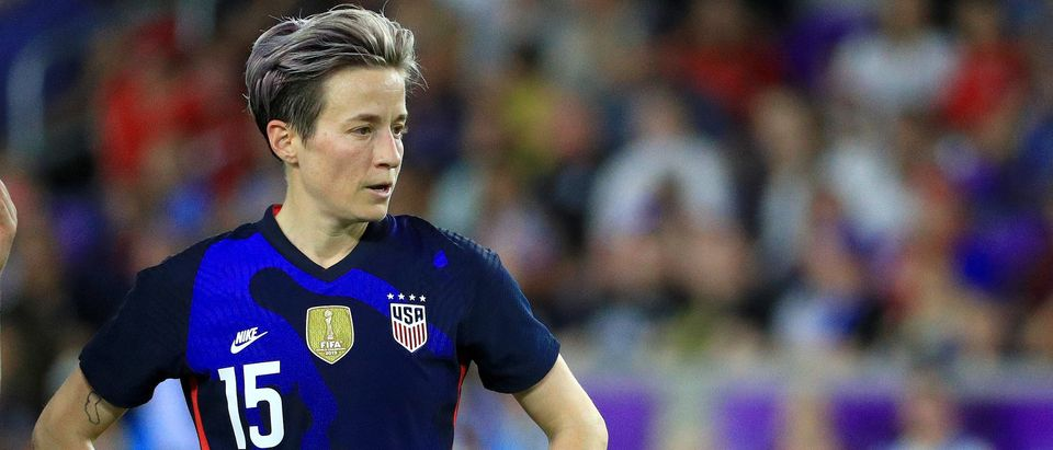 Megan Rapinoe #15 of the United States looks on during a match against England in the SheBelieves Cup at Exploria Stadium on March 05, 2020 in Orlando, Florida. (Mike Ehrmann/Getty Images)