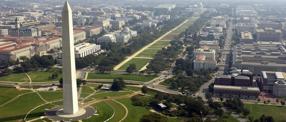 ARLINGTON, VA - SEPTEMBER 26: Aerial photo of the Washington Memorial with the Capitol in the background in Washington D.C. on September 26, 2003. (Photo by Andy Dunaway/USAF via Getty Images)