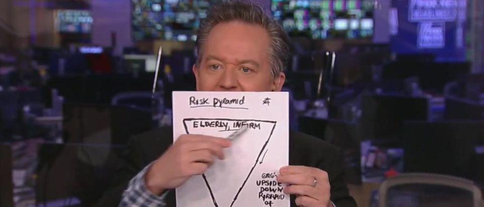 Greg Gutfeld uses a chart to demonstrate New York's coronavirus fight shortcomings (Fox News screengrab)