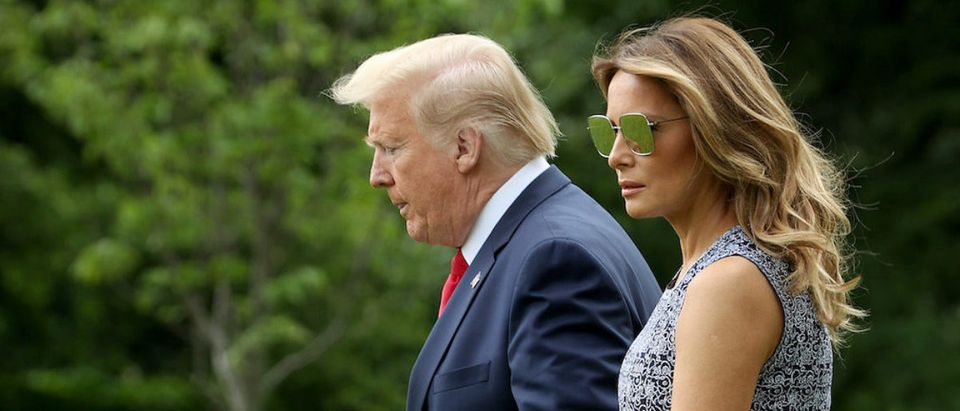 U.S. President Donald Trump and first lady Melania Trump depart the White House on May 27, 2020 in Washington, DC. Trump is scheduled to watch the SpaceX launch of two U.S. astronauts to the International Space Station later this afternoon, the first commercial launch of U.S. astronauts in the nation's history. (Photo by Win McNamee/Getty Images)