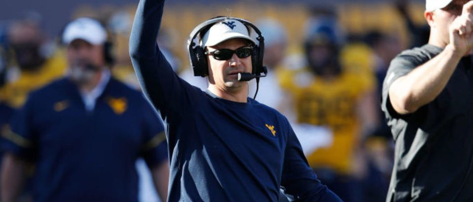 MORGANTOWN, WV - OCTOBER 05: Head coach Neal Brown of the West Virginia Mountaineers looks on in the second quarter against the Texas Longhorns at Mountaineer Field on October 5, 2019 in Morgantown, West Virginia. (Photo by Joe Robbins/Getty Images)