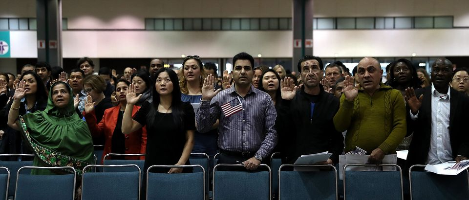 Immigrants Are Sworn In As U.S. Citizens In Naturalization Ceremony At L.A. Convention Center