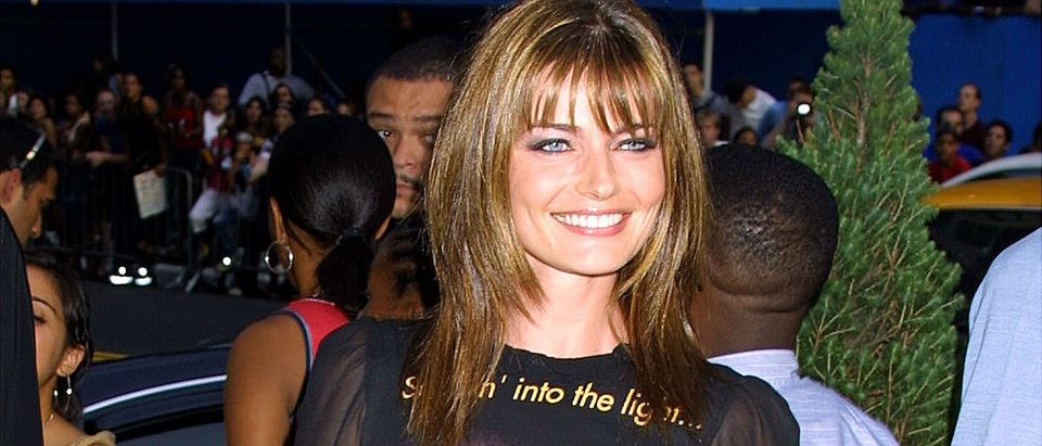 """Model Paulina Porizkova arrives at the """"MTV 20: Live and Almost Legal"""" party August 1, 2001 at the Hammerstein Ballroom in New York City to celebrate MTV''s twentieth anniversary. (Photo George De Sota/Getty Images)"""