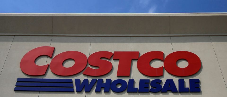 A sign is seen outside a Costco Wholesale store in Glenview