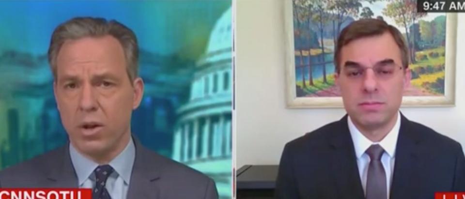 Jake Tapper speaks with Justin Amash. Screenshot/CNN